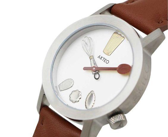 "1990's AKTEO Designer watch | RARE-UNUSUAL Cuisine ""Chef"" Design NOVO"