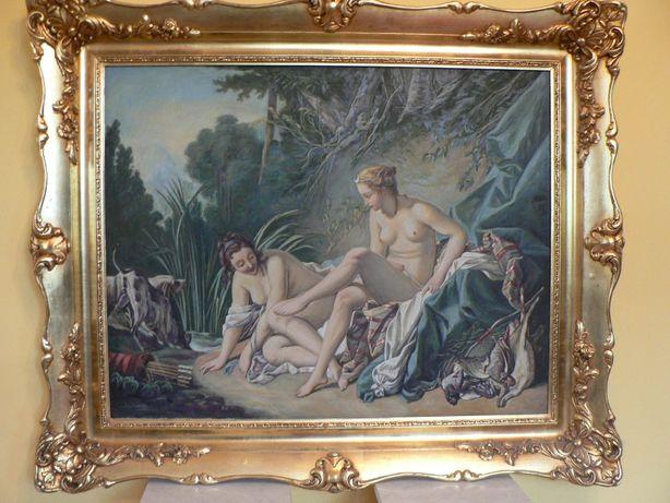 """Duży obraz olej na płótnie, kopia """"Diana po kąpieli"""" z 1970r.! True Vi"""