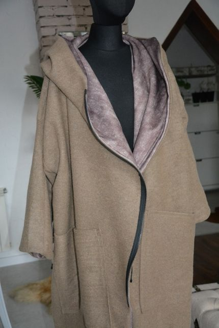 40-54 płaszcz wełna beżowy oversize duży długi beż brąz XXXL