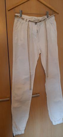 Calças de senhora de ganga e algodão