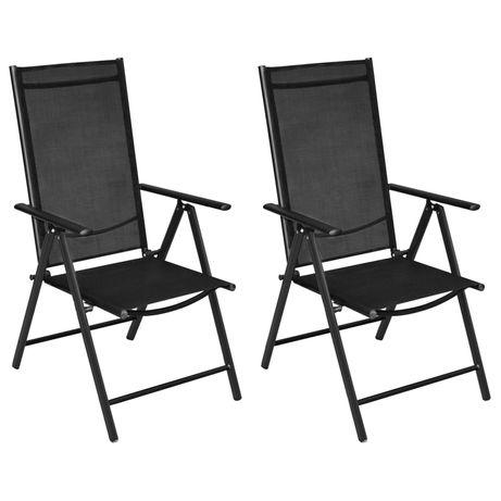 vidaXL Cadeiras de jardim dobráveis 2 pcs alumínio e textilene preto 41730