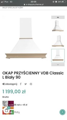 Okap drewniany VDB nowy 90 cm lite drewno jesion niebarwiony