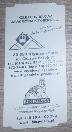 Bilet kolekcjonerski: Kolej gondolowa - Jaworzyna Krynicka