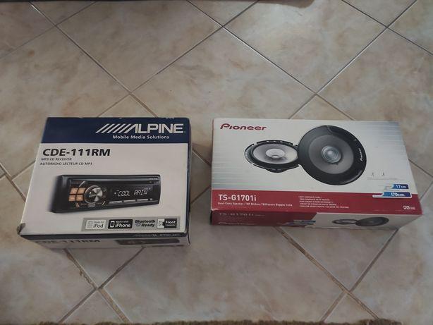 Auto rádio Alpine + colunas 17cm 170w pioneer
