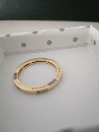 Obrączka pierścionek złoto 585 14 karat Mikicki oryginał cyrkonie