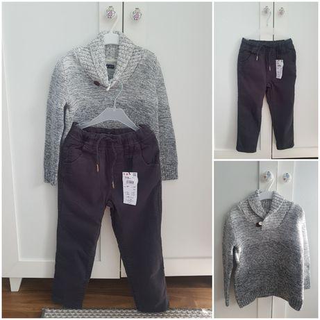 Nowe Spodnie ocieplane Reserved i sweter 116