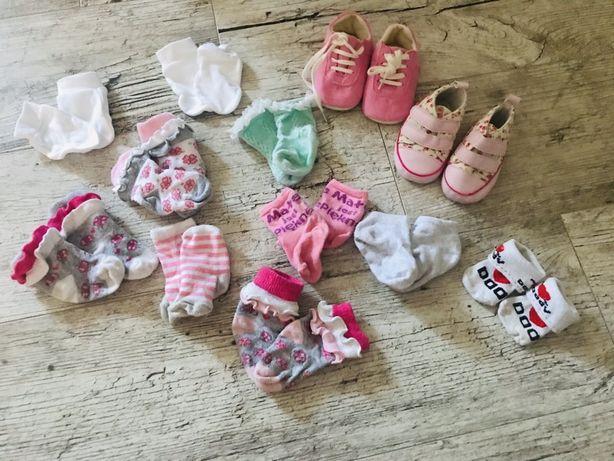 Zestaw skarpetki niechodki niedrapki dla noworodka dziewczynka