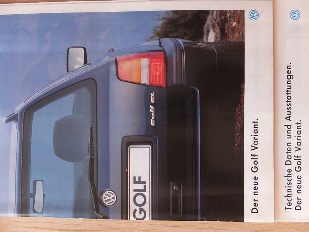 Prospekt VW Golf III Variant -wszystkie wersje+dodatki-bdb!