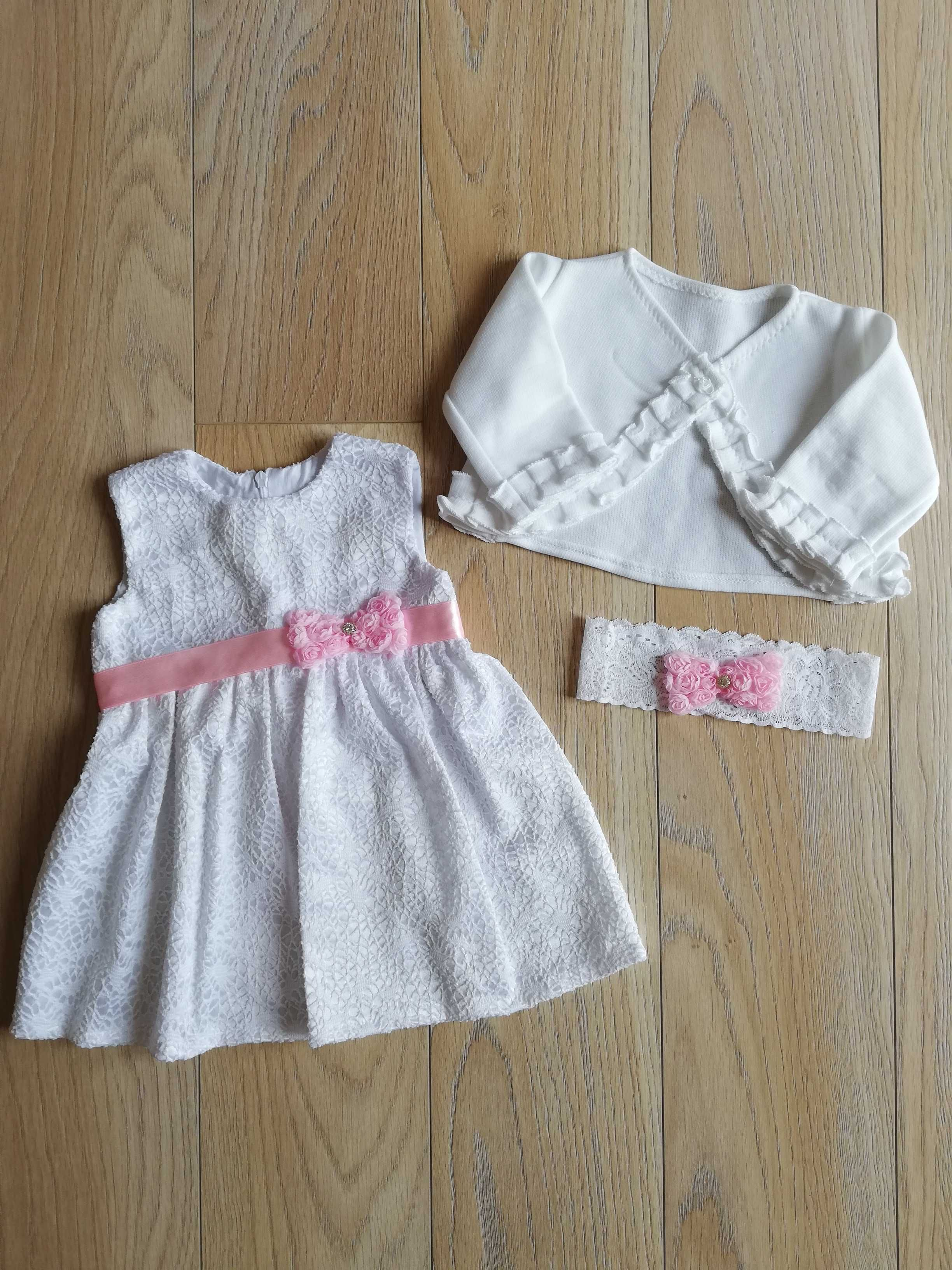 Ubranko komplet do chrztu dla dziewczynki 68/74 sukienka na chrzest