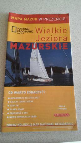 mapa turystyka, podróże, Mazury, Wielkie jeziora mazurskie, National