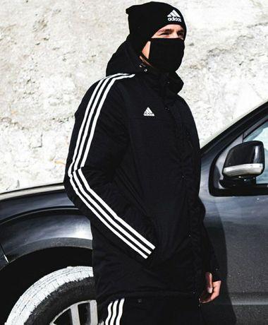 Мужская куртка Адидас зимняя парка пуховик чёрная чоловiча XS S M L XL