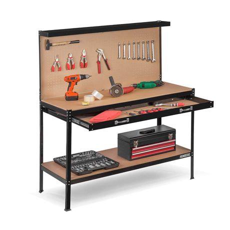 Stół roboczy warsztat z szufladą Humberg HM-590 czarny