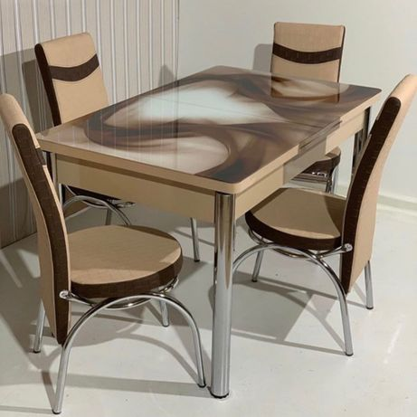 Стол обеденный раскладной + 6\4 Стула\Каленое стекло\