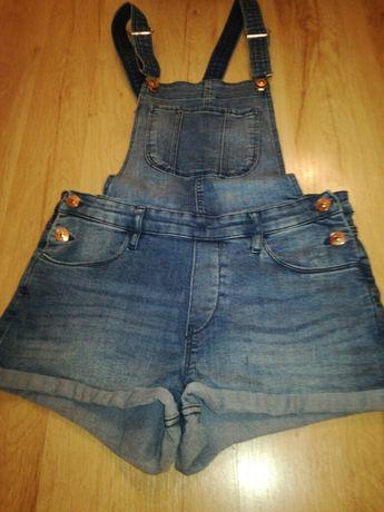 Spodenki szorty jeans ogrodniczki H&M r. 152