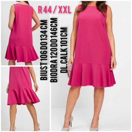 Klasyczna sukienka rozowa litera a falbanka falbana 44 46 xxl 3xl
