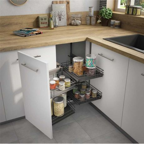 Cesto arrumação extraível móvel de canto cozinha