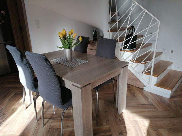 Stół Agata meble 140/180x90x76,5 +4 krzesła +4 pokrowce