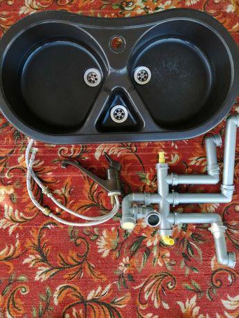 Акриловая тройная мойка со смесителем Armal, комплект, Италия