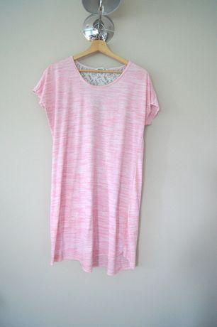 jasnorozowa pizama tunika koszula nocna pastelowa koronkowa 42 XL 40 L