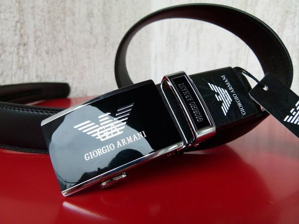 GA Giorgio Armani czarny męski pasek do spodni automat boss 120cm