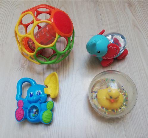 Zabawki niemowlęce, Fisher Price (kaczka, słonik), Oball, Clementoni