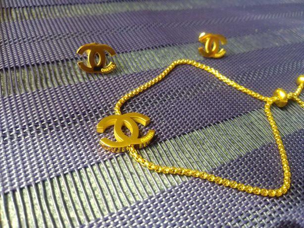 Komplet biżuterii bransoletka i kolczyki nowe cc