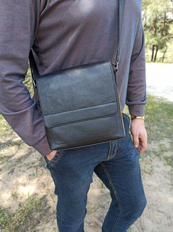 кожаная мужская классическая сумка с клапаном