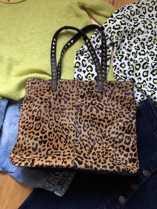 Кожаная сумка шопер мех пони zara Калуш - изображение 1