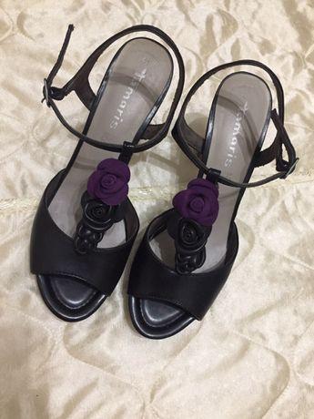 Босоножки на каблуке кожаные Tamaris 41 размер