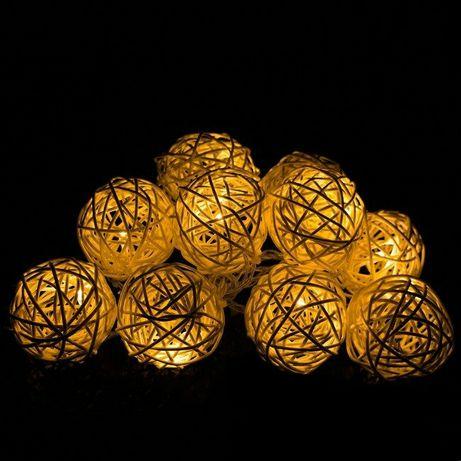 Kulki kule ratanowe rattanowe bombki lampki rękodzieło 4,5 cm NOWE