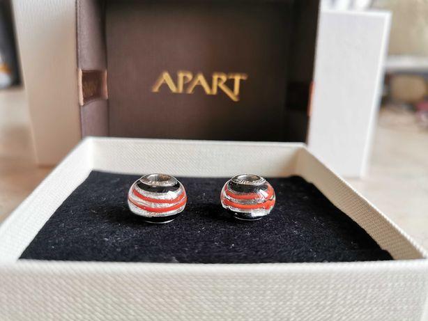 Apart zawieszka beads charms srebrna czerwona zebra