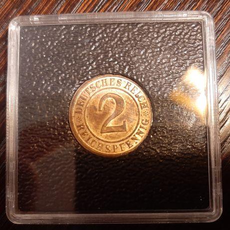 Moneta 2 Reichspfennig z 1936 roku- mennica D