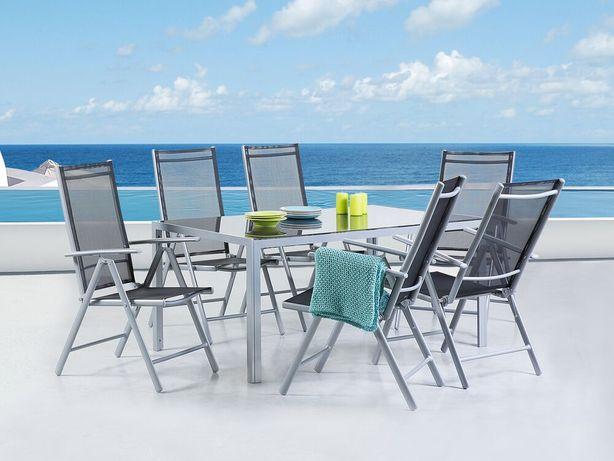 Conjunto de 6 cadeiras de jardim pretas em alumínio cinzento CATANIA - Beliani