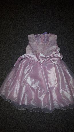 Sukienka nowa różowa z brokatem z kokardą 98