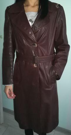 Płaszcz damski ze skóry
