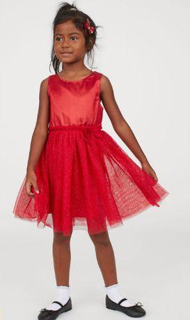 Красное нарядное пышное платье юбка фатин туту бальное блестки HM НМ
