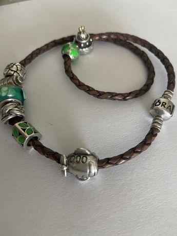 Pulseiras (prata e couro) e Contas originais Pandora