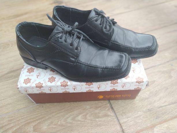 Eleganckie czarne buty, komunia święta rozmiar 36