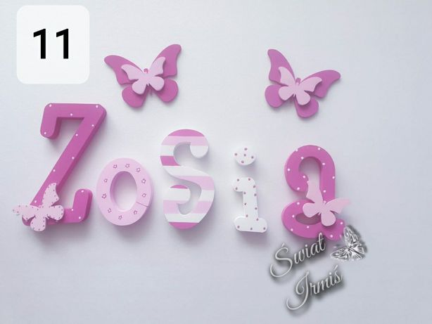 Imiona, literki 3d, na ścianę, ręcznie malowane, 2 dekory Gratis