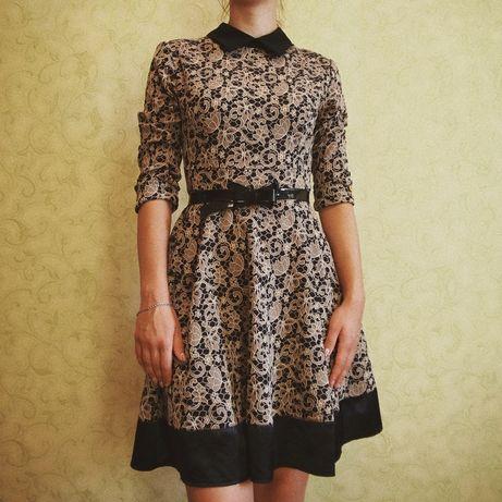 Красивое платье с поясом бантиком