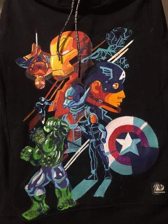 Avengers kurtka custom ręcznie malowana Marvel katana jeansowa