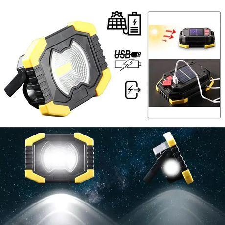Holofote 50 W LED COB, Recarregável com energia solar ou eléctrica