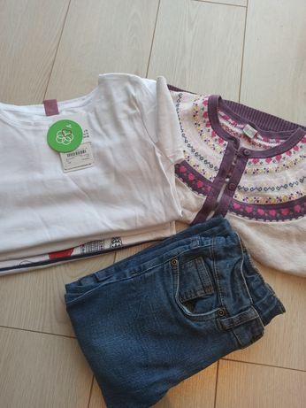 Bluzeczka, bluzka długu rękaw 128, spodnie