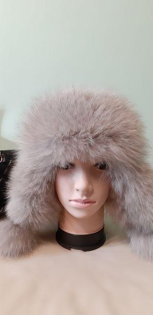 Новая женская зимняя шапка ушанка кожа песец-супер Цена