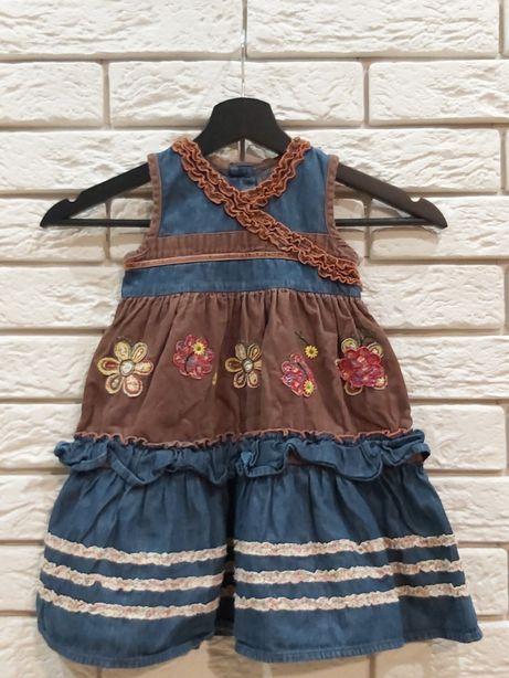 Sukienka jeansowa z falbanami roz. 92 cm 1,5-2 lat