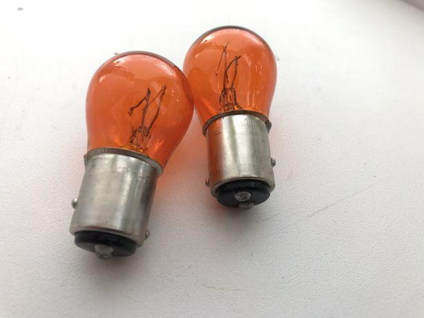 Автолампа двухконтактная оранжева жовта желтая лампа 21/5W 12V