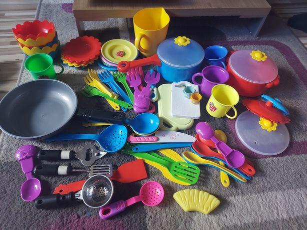 Zestaw garnków sztućców plastikowe zestaw do gotowania do zabawy