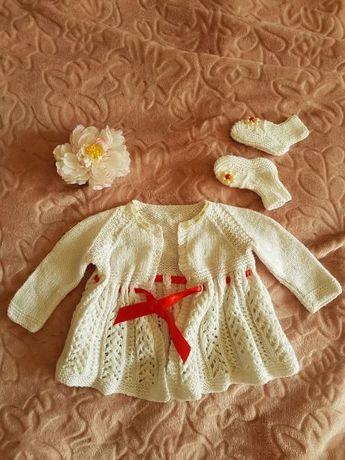 Нарядное платьице с пинетками на выписку или Крещение