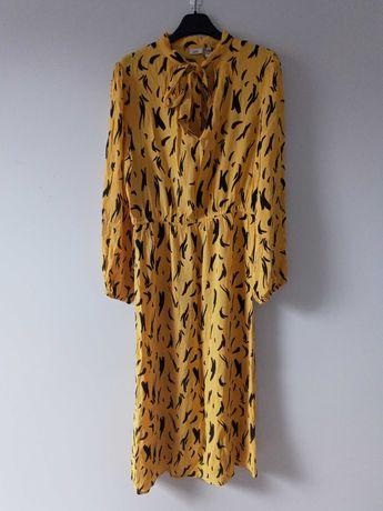 Żółta sukienka print River Island 40/L 38/M