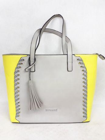 Torebka MONNARI szara neon limonka frędzle torba shoperka HIT